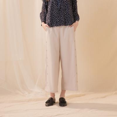 【CUMAR】簡約舒適側邊排釦-長褲(二色/版型適中)