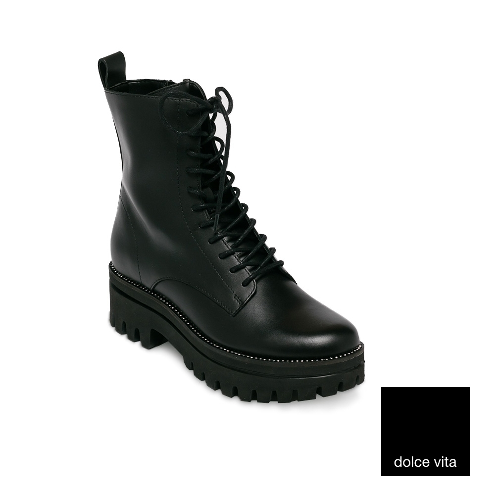 DOLCE VITA-綁帶粗跟中筒靴-黑色