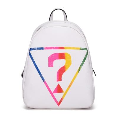 GUESS-女包-多色經典倒三角問號後背包-白