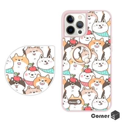Corner4 iPhone 12 / 12 Pro 6.1吋雙料指環手機殼-圓圓柴犬