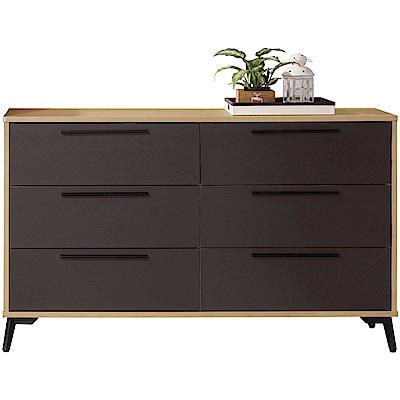 綠活居 米布亞時尚4尺雙色六斗櫃/收納櫃-120x40x81cm免組