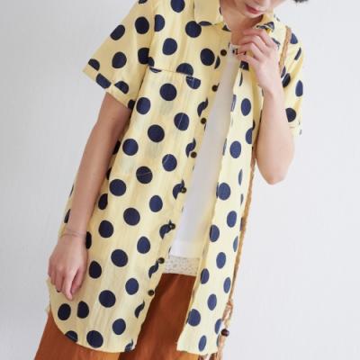 KT 波卡圓點質感棉質襯衫- 黃色