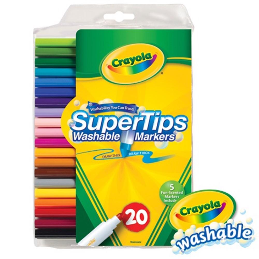 【美國crayola 繪兒樂】可水洗20色細桿彩色筆