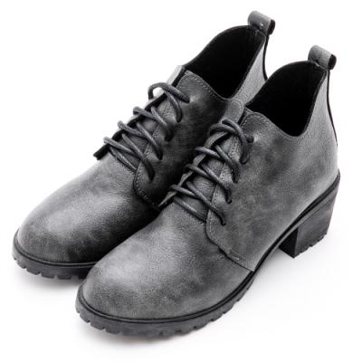 River&Moon短靴-渲染皮紋繫帶造型牛津短靴 黑