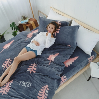 BUHO 極柔暖法蘭絨兩用毯被床包雙人特大四件組(月佇謐林)