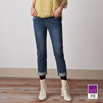 ILEY伊蕾 花朵刺繡彈性八分直筒褲(藍)