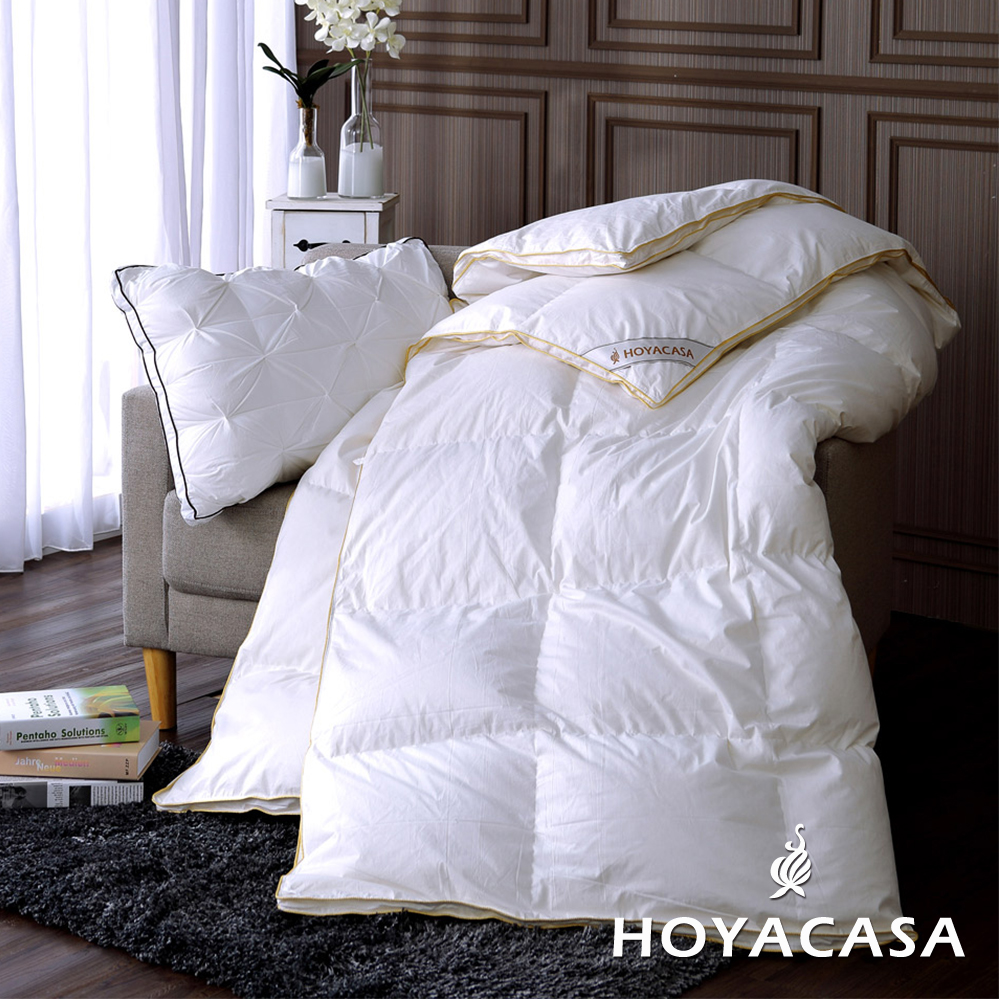 HOYACASA法國90/10立體隔間羽絨被-雙人(加贈-羽毛枕二入)