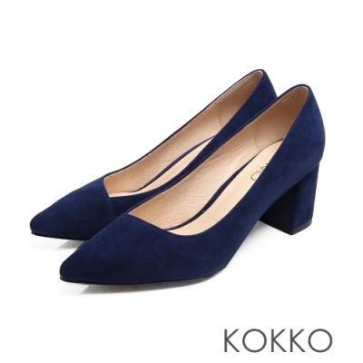 KOKKO - 美的平衡點斜口素面真皮高跟鞋-絨寶藍