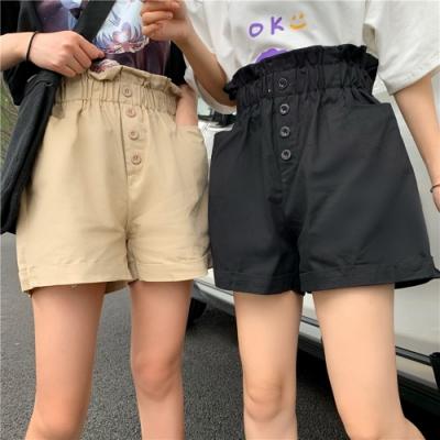 La Belleza四釦高腰荷葉鬆緊腰圍前口袋反折短褲