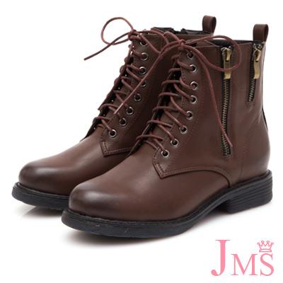 JMS-率性拉鍊造型8孔綁帶馬丁短靴-棕色