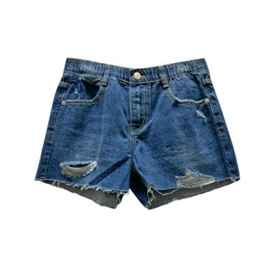 不收邊抽鬚刷破牛仔短褲 TATA-(M~XL)
