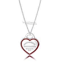 Tiffany&Co. 紅色大愛心琺瑯框線純銀項鍊