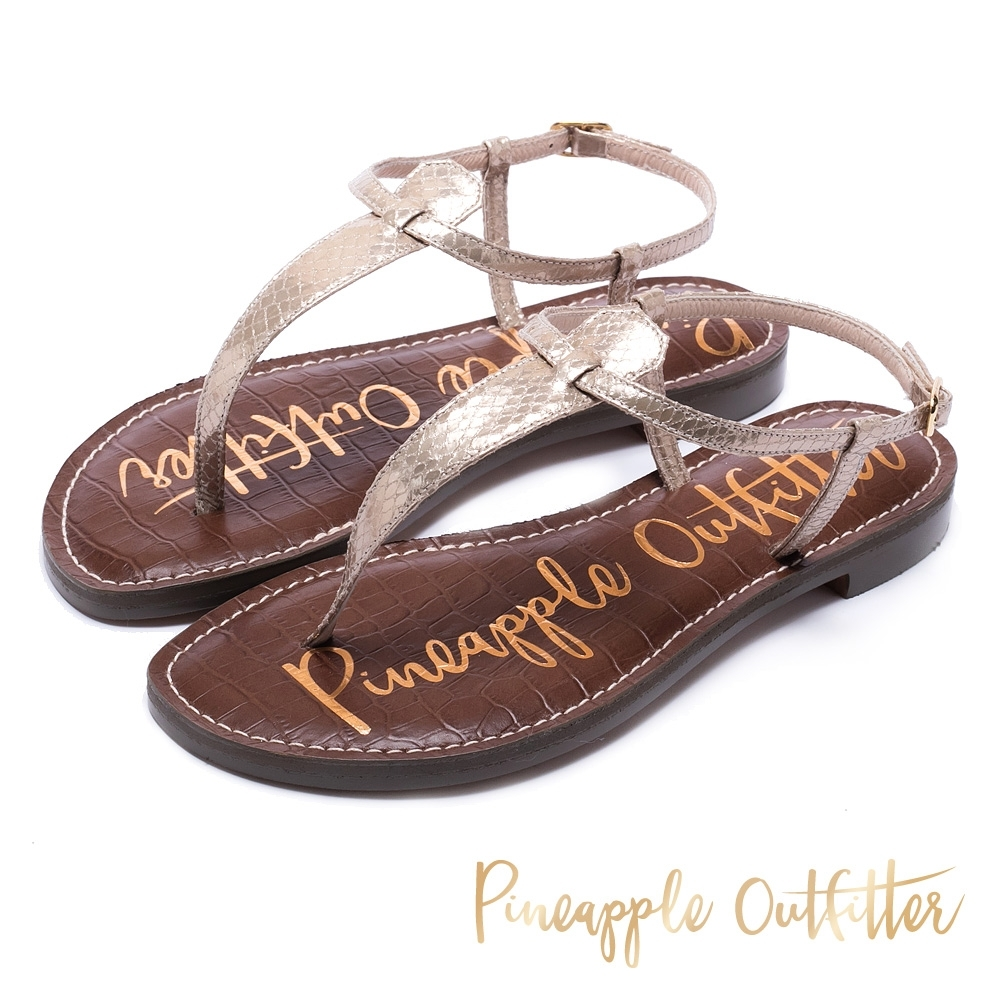 Pineapple Outfitter 經典真皮平底涼鞋-金銅