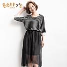 betty's貝蒂思 假兩件七分袖連身長洋裝(黑色條紋)