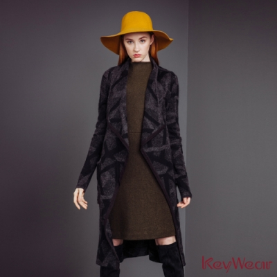 KeyWear奇威名品      時尚幾何開襟針織外套-深灰色