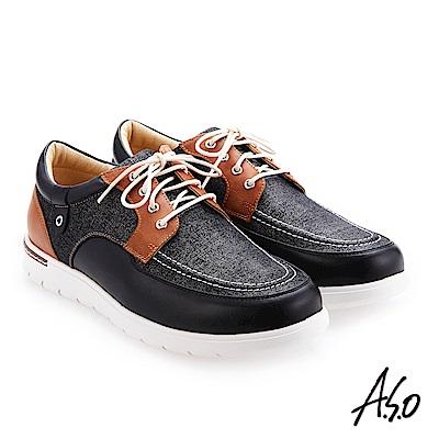 A.S.O 3D超動能 綁帶拼色牛皮休閒鞋 黑