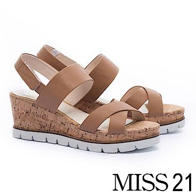 涼鞋 MISS 21 鄰家好感交叉帶設計牛皮楔型涼鞋-咖
