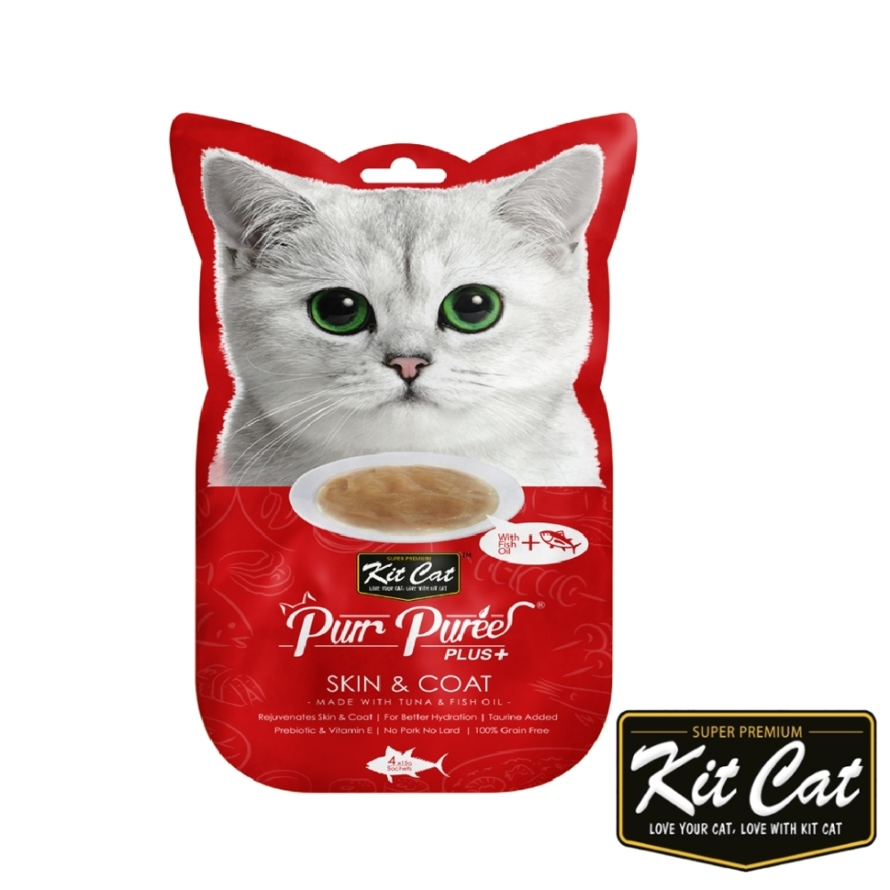 Kitcat呼嚕嚕肉泥-皮毛保健配方(鮪魚) 60g 貓零食 貓肉條 貓肉泥 化毛 牛磺酸 保健零食