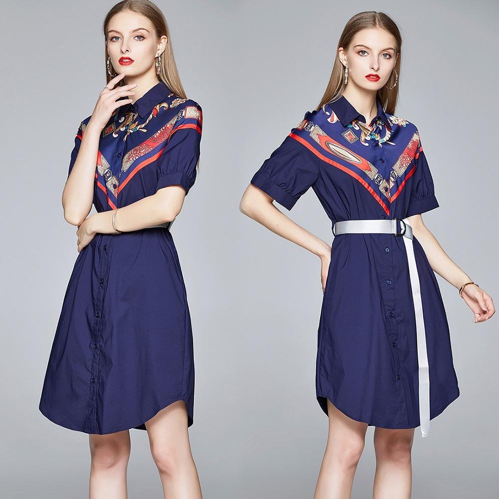 【KEITH-WILL】(預購) 歐洲站圖騰印花高貴洋裝