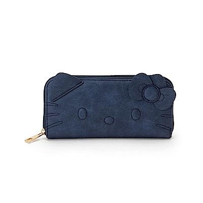 Sanrio HELLO KITTY時尚丹寧風刺繡鑲飾PU皮革拉鍊長皮夾(大臉)