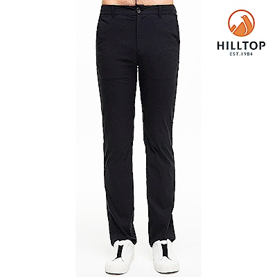 【hilltop山頂鳥】男款超潑水抗UV彈性長褲S07MC1無月黑