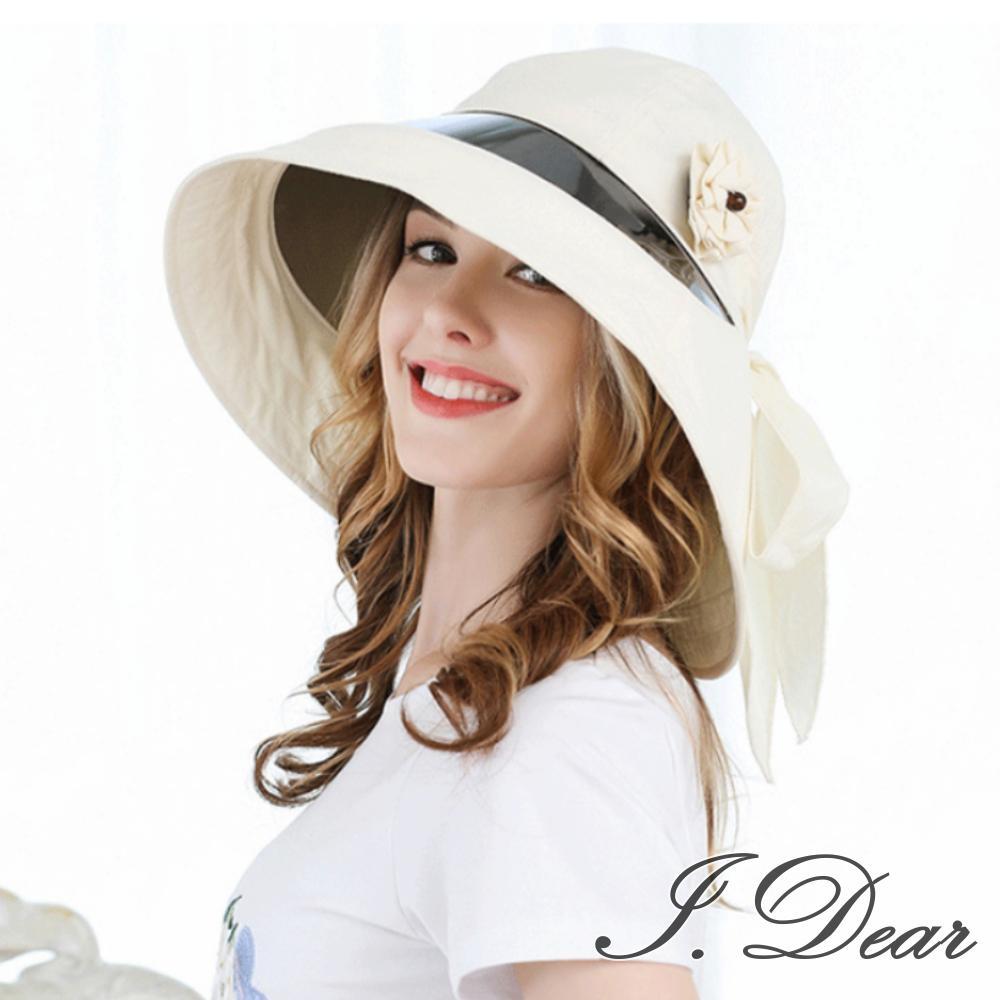 I.Dear-日本UV CUT女子大花朵護頸防曬鏡片遮陽帽