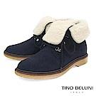 Tino Bellini義大利進口美式休閒翻領綁帶短靴_藍