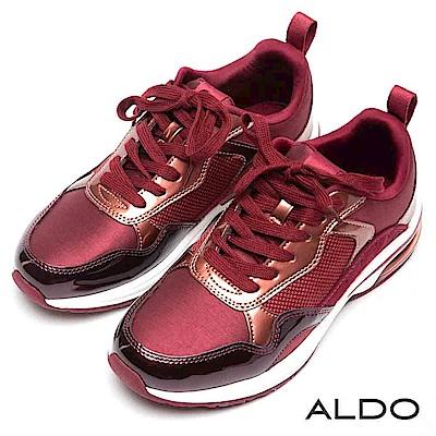 ALDO 原色異材質網眼拼接厚底綁帶氣墊休閒鞋~愛戀酒紅