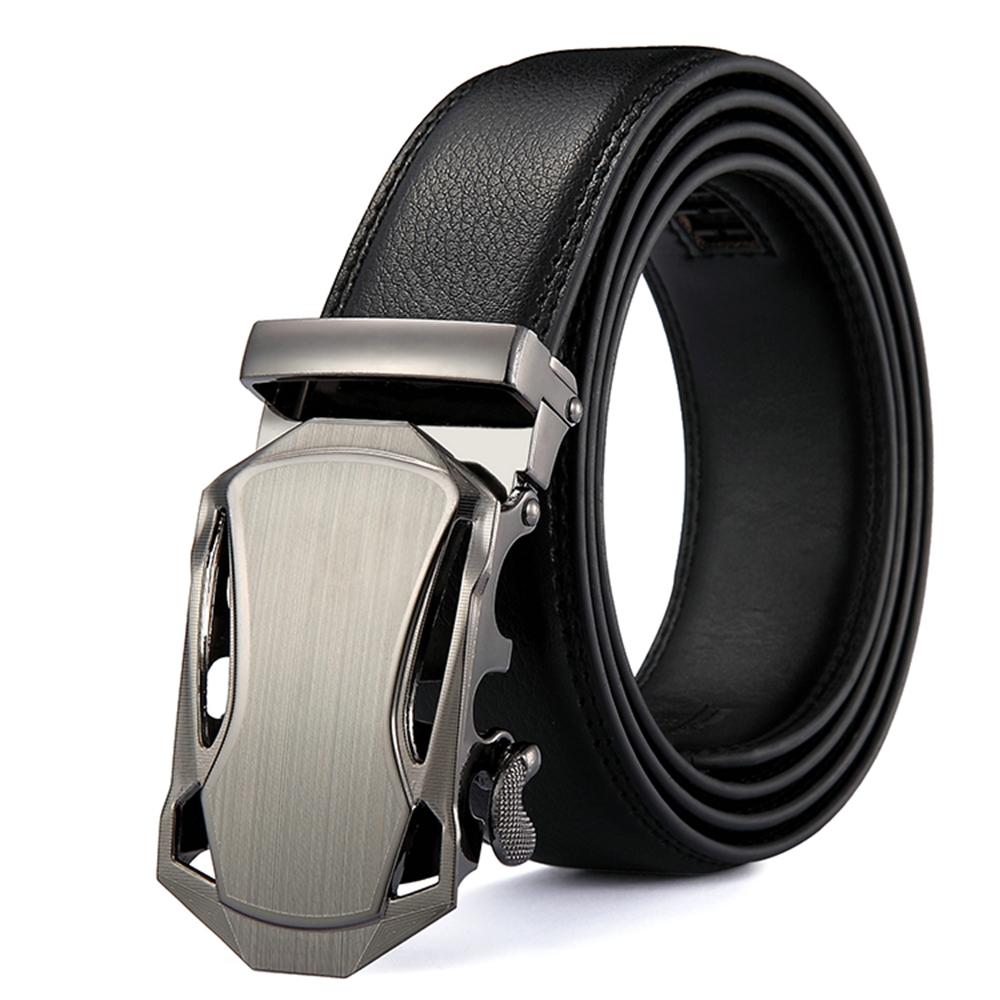 ZK2030新潮銀色造型自動扣牛皮腰帶皮帶黑色(腰圍在22-42吋內適用)
