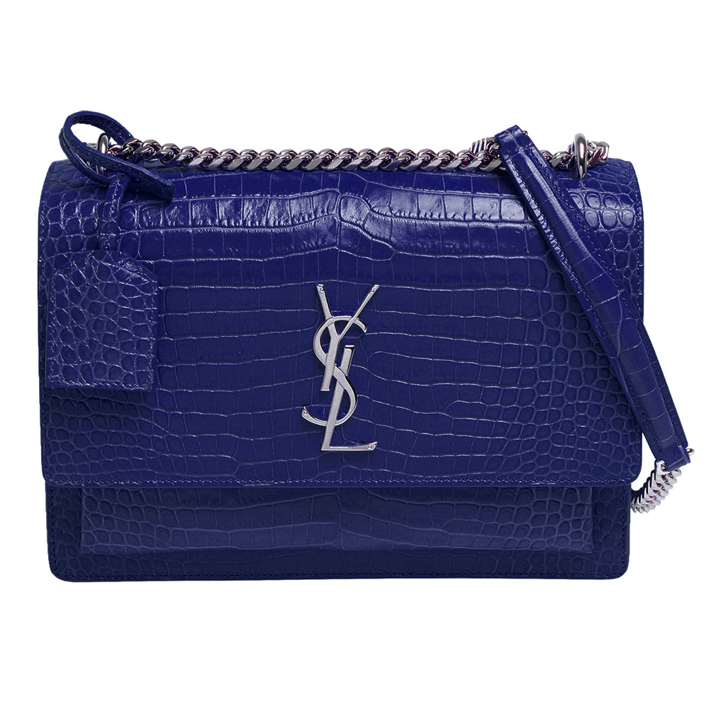 YSL 經典金屬銀色LOGO鱷魚紋牛皮銀鍊磁釦肩背/斜背包(藍色)