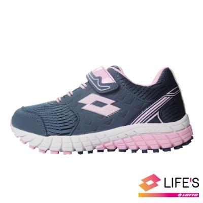 LOTTO 義大利 童 雙色動力  雙密度避震跑鞋 (深灰/粉)