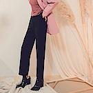 純色質感高腰收腹修身寬褲-OB大尺碼