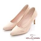 【CUMAR】尖頭典雅金屬光澤高跟鞋-粉紅