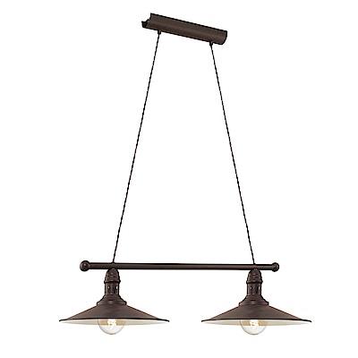 EGLO歐風燈飾 復古風美型黑雙燈吊燈(不含燈泡)