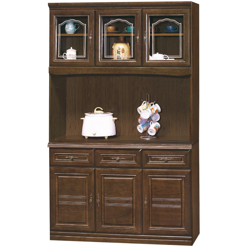 綠活居 馬比實木4尺六門三抽餐櫃/收納櫃組合(上+下座)-121x43x203cm免組