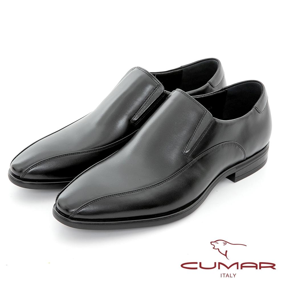 【CUMAR】簡約時尚 極簡風格真皮紳士鞋-黑