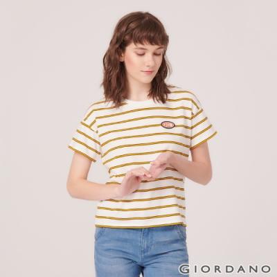 GIORDANO 女裝復古風格印花短袖寬版T恤-31 皎雪/極光黃/海帶綠