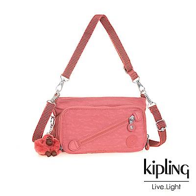 Kipling薔薇粉斜拉鍊肩背包