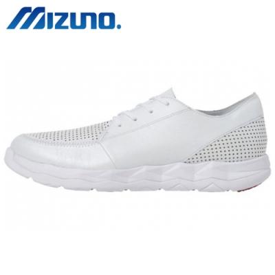 MIZUNO 美津濃 WAVE SN WALK CLASSIC 男 天然皮革 健走鞋 白 B1GE184101