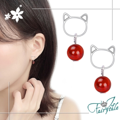 iSFairytale伊飾童話 貓咪蘋果 紅石榴珠銅電鍍耳環