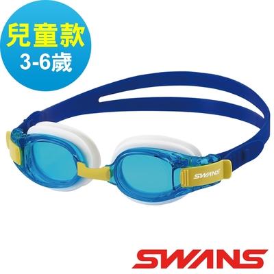 【SWANS 日本】JUNIOR兒童快調式泳鏡SJ-8N水藍/藍/防霧鏡片/抗UV/舒適矽膠