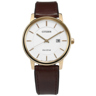 CITIZEN 光動能 藍寶石水晶玻璃 日本製造 真皮手錶-白x香檳金框x深褐/40mm