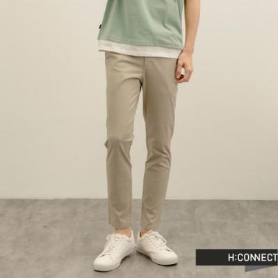 H:CONNECT 韓國品牌 男裝-純色百搭修身直筒褲-卡其色