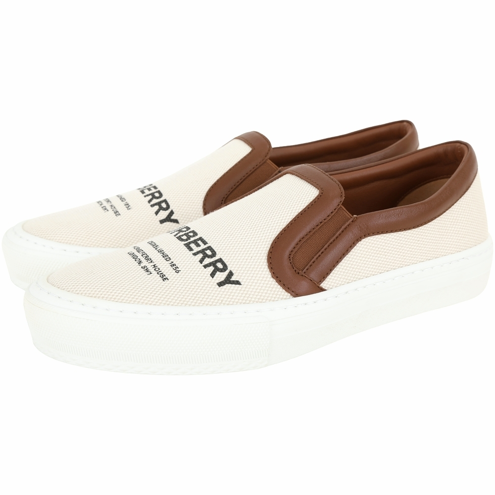 BURBERRY Horseferry 棉質印花皮革休閒鞋(麥芽棕)