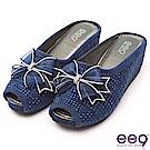 ee9 瞬間激增隱藏式內增高楔型跟魚口拖鞋 藍色