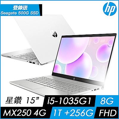 HP Pavilion 15 15吋輕薄筆電(i5-1035G1/8G/1T+256G PCIe SSD/MX250-2G/Win10)
