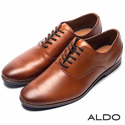 ALDO 原色真皮鞋面綁帶式復古木紋粗跟男皮鞋~摩登焦糖