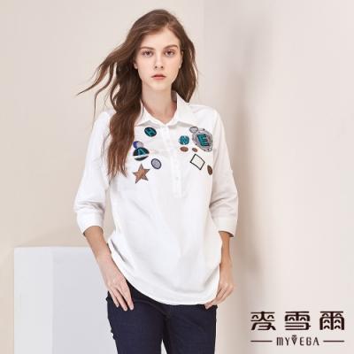 【麥雪爾】棉質字母星球刺繡長版上衣