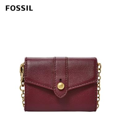 FOSSIL Blake 迷你鍊帶零錢包皮夾-咖啡紅色 SWL2552599