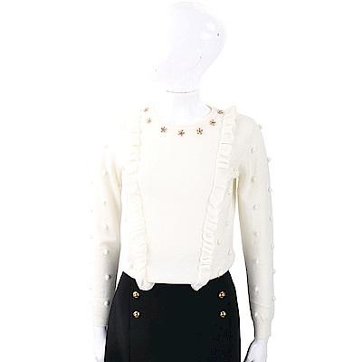 BLUGIRL-FOLIES 金屬花細節白色毛球荷葉美麗諾羊毛衫